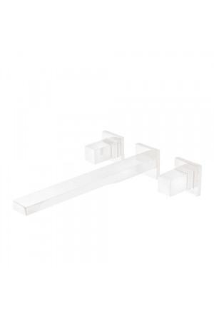 Двуручный настенный смеситель, излив 240мм, Tres Cuadro 00815401BM, Белый матовый, скрытый