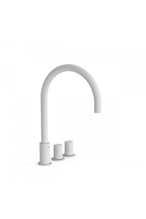 Двуручный смеситель на борт ванны Tres Study exclusive 06110501BM, Белый матовый, в борт ванны