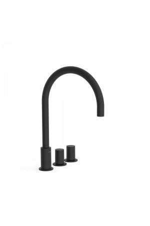 Двуручный черный смеситель на борт ванны Tres Study exclusive 06110501NM, Черный матовый, в борт ванны