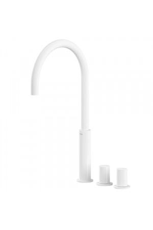 Двуручный смеситель на борт ванны Tres Study exclusive 06110502BM, Белый матовый, в борт ванны