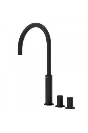 Двуручный черный смеситель на борт ванны Tres Study exclusive 06110502NM, Черный матовый, в борт ванны