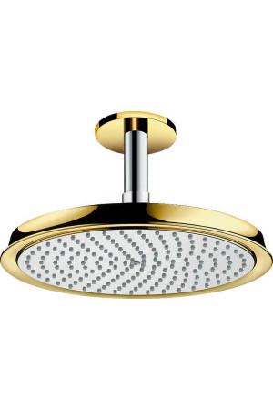 Потолочный душ 240мм с держателем, хром/золото, Hansgrohe Raindance 27405090, Хром