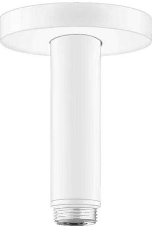 Потолочное подсоединение, 100 мм, матовое белое, Hansgrohe 27393700, Белый матовый