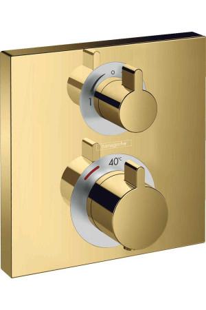 Термостат, скрытого монтажа, полир. золото, Hansgrohe Ecostat Square 15714990, Золото, скрытый