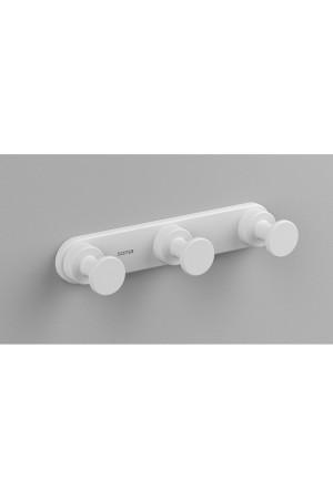 Тройной крючок в ванную комнату, белый матовый, Sonia Tecno Project 176823, Белый матовый, настенный, Латунь