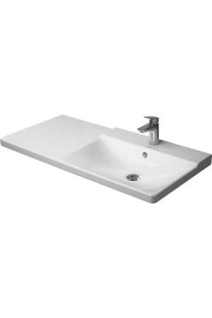 Duravit P3 Comforts умывальник для мебели ассиметричный 1050 мм 233410, Белый, Керамика - на мебели, Керамика - подвесной, Керамика