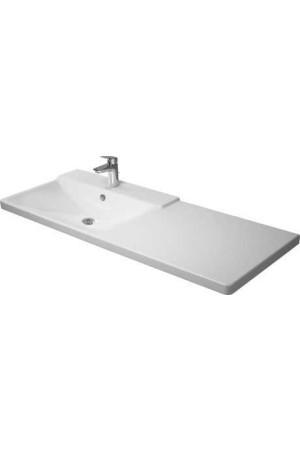 Duravit P3 Comforts умывальник для мебели ассиметричный 1250 мм 233312, Белый, Керамика - на мебели, Керамика - подвесной, Керамика