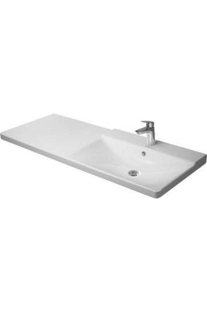 Duravit P3 Comforts умывальник для мебели ассиметричный 1250 мм 233412, Белый, Керамика - на мебели, Керамика - подвесной, Керамика