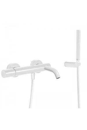 Однорычажный смеситель для ванны и душа Tres Study exclusive 26117001TBL, Белый, настенный