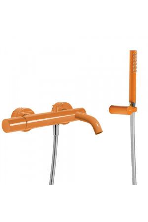 Однорычажный смеситель для ванны и душа Tres Study exclusive 26117001TNA, Оранжевый, настенный