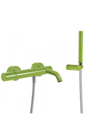 Однорычажный смеситель для ванны и душа Tres Study exclusive 26117001TVE, Зеленый, настенный