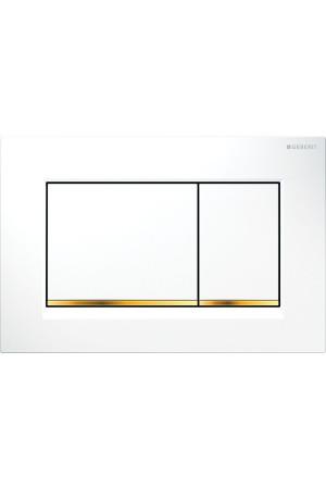 Смывная клавиша Sigma30, белая/золото, Geberit 115.883.KK.1, Белый, Пластик