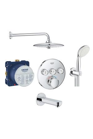 Набор скрытого монтажа для ванны и душа, Grohe SmartControl 34614SC3, Хром, Смесители - скрытый