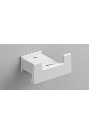 Двойной крючок для ванной, белый матовый, Sonia S-Cube 176359, Белый матовый, настенный, Латунь