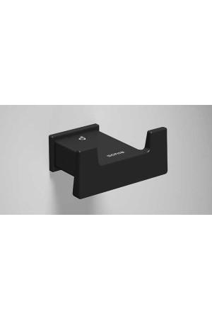 Двойной крючок в ванную, черный матовый, Sonia S-Cube 173006, Черный матовый, настенный, Латунь