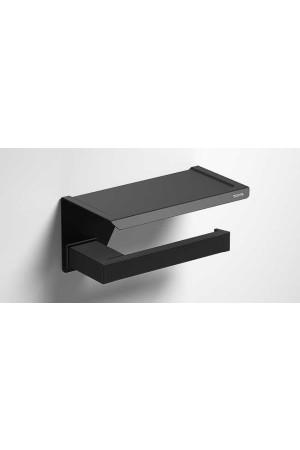 Держатель туалетной бумаги с полочкой, черный матовый, Sonia S-Cube 176373, Черный матовый, настенный, Латунь