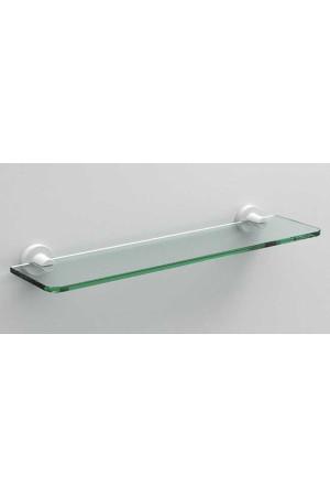 Стеклянная полочка в ванную 500 мм., белая матовая, Sonia Tecno Project 176878, Хром, настенный, Латунь