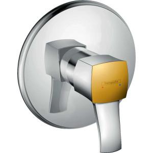 Смеситель для душа встраиваемый, хром/золото, Hansgrohe Metropol Classic 31365090, Хром/золото, скрытый