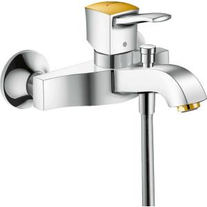 Смеситель для ванны, хром/золото, Hansgrohe Metropol Classic 31340090, Хром/золото, настенный