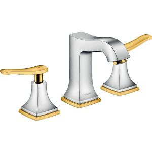 Смеситель двухвентильный для раковины, хром/золото, Hansgrohe Metropol 31330090, Хром/золото, стандартный