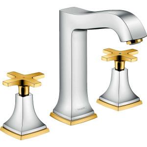 Смеситель двухвентильный для раковины, хром/золото, Hansgrohe Metropol 31307090, Хром/золото, стандартный
