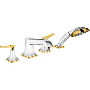 Смеситель на борт ванны, хром/золото, Hansgrohe Metropol Classic 31441090, Хром/золото, в борт ванны