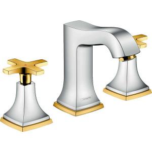 Смеситель двухвентильный для раковины, хром/золото, Hansgrohe Metropol 31306090, Хром/золото, стандартный