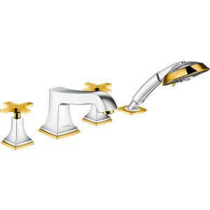 Смеситель на борт ванны, хром/золото, Hansgrohe Metropol Classic 31449090, Хром/золото, в борт ванны