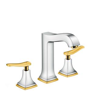 Смеситель двухвентильный для раковины, хром/золото, Hansgrohe Metropol 31331090, Хром/золото, стандартный