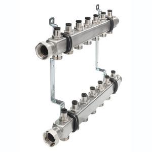 Коллектор для системы отопления с запорными вентилями в сборе, 9 контуров, 1