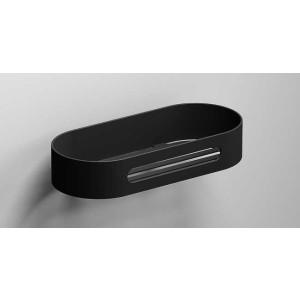 Полка для ванной 215 мм, черная матовая, Sonia S5 176496, Черный матовый, настенный, Нержавейка