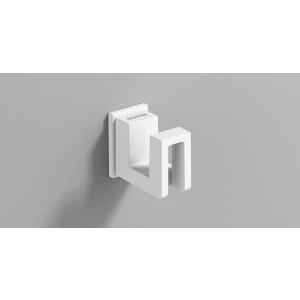 Крючок для ванной, белый матовый, Sonia S-Cube 186440, Белый матовый, настенный, Латунь