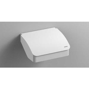 Держатель туалетной бумаги с крышкой, белый матовый, Sonia S-Cube 176397, Белый матовый, настенный, Латунь