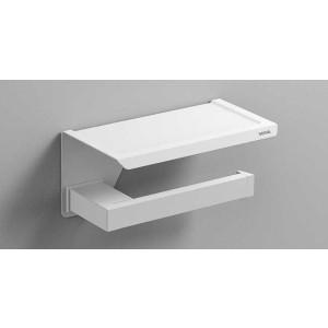 Держатель туалетной бумаги с полочкой, белый матовый, Sonia S-Cube 176380, Белый матовый, настенный, Латунь