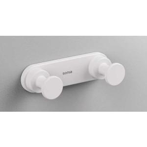 Двойной крючок в ванную комнату, белый матовый, Sonia Tecno Project 172405, Белый матовый, настенный, Латунь