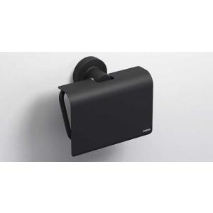 Держатель туалетной бумаги с крышкой, черный матовый, Sonia Tecno Project 166282, Черный матовый, настенный, Латунь
