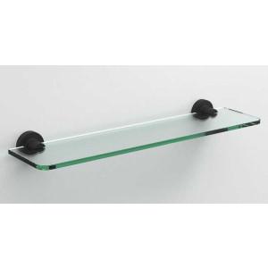 Стеклянная полочка в ванную 500 мм., черная матовая, Sonia Tecno Project 172719, Черный матовый, настенный, Латунь